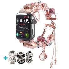 Cinturino per orologio da donna fai-da-te per apple watch 5 4 cinturini 44mm cinturini sportivi iwatch 42mm accessori 40mm serie 3 2 cinturino 38mm cinturino