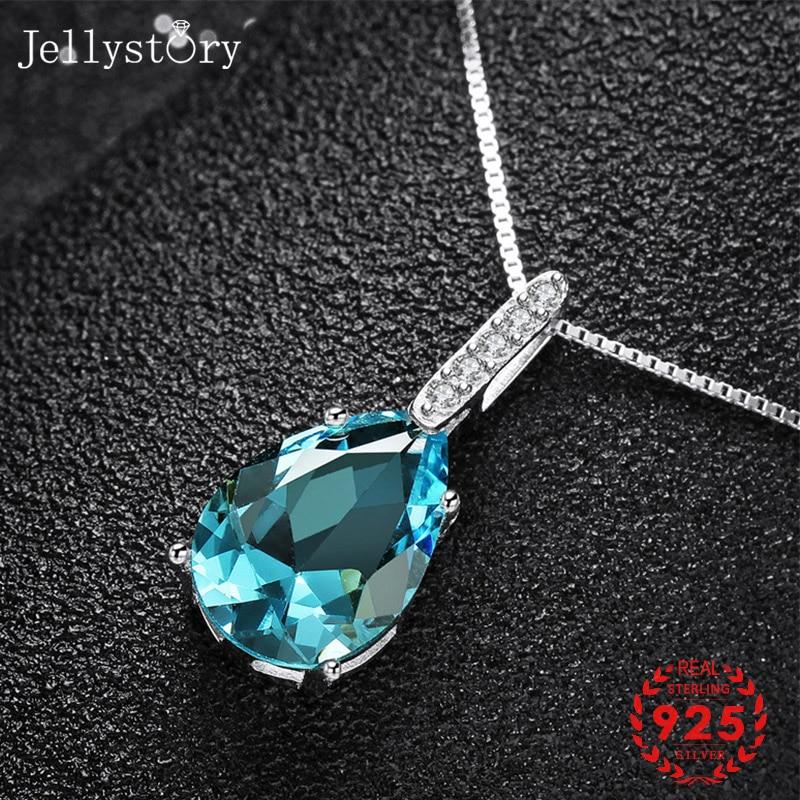 Collar de plata esterlina 925 Jellystory con colgante de piedras preciosas de zirconia de zafiro en forma de gota de agua para mujer joyería para fiesta y boda