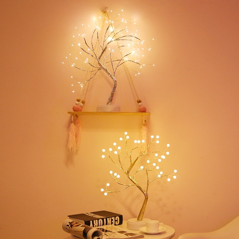 LED Night Light Mini Christmas Tree Copper Wire Garland Lamp For Home Kids Bedroom Decor Fairy Lights Luminary Holiday lighting enlarge