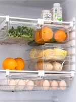 refrigerator drawer storage box kitchen organizar items freezer fresh box food fruit vegetable meat cola egg storage containers