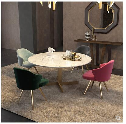 Light luxury post modern dining chair Nordic velvet chair designer chair simple back armchair leisure chair negotiation chair dining chair velvet set of 2 retro vintage armchair lounge chair for dining living room blcony salon rose grey cactus green