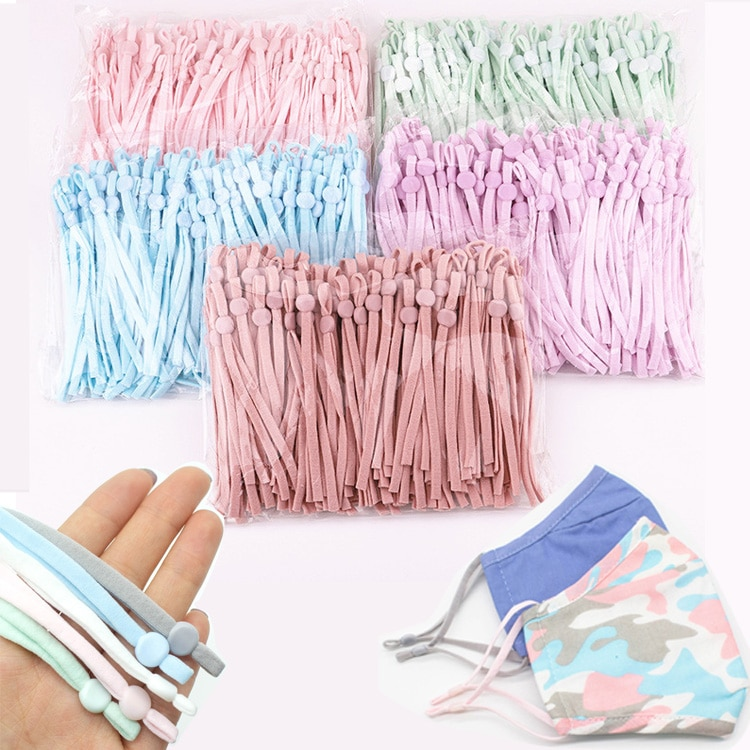 10/30/50 Pcs Adjustable Mask Sewing Elastic Band Cord With Buckle Stretchy Mask Earloop Lanyard Earmuff Rope DIY Making Supplies
