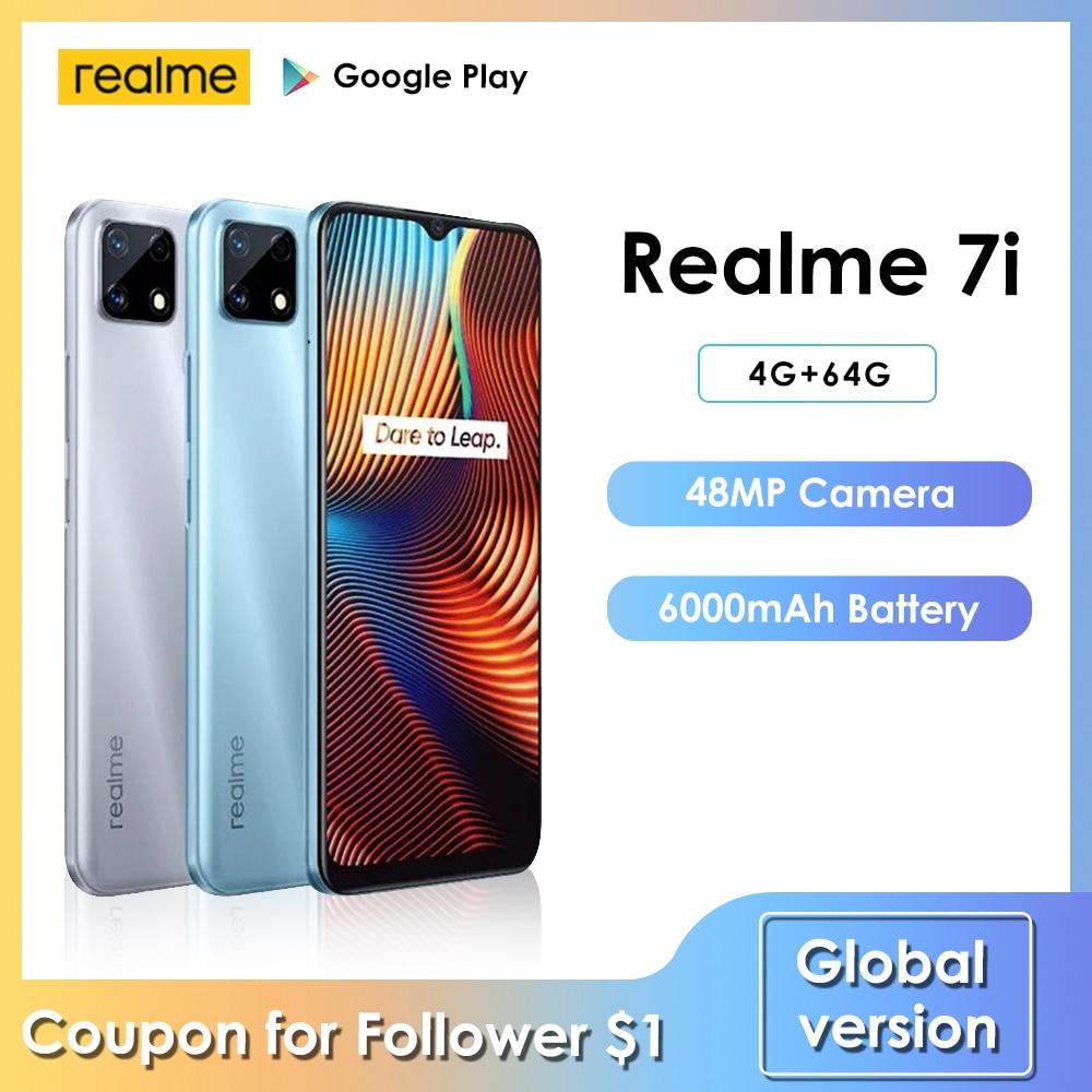 Перейти на Алиэкспресс и купить Смартфон realme 7i Helio, 48 МП, 4 + 64 ГБ, 6000 мА · ч, 6,5 дюйма, 8 ядер, Android 10, LTE