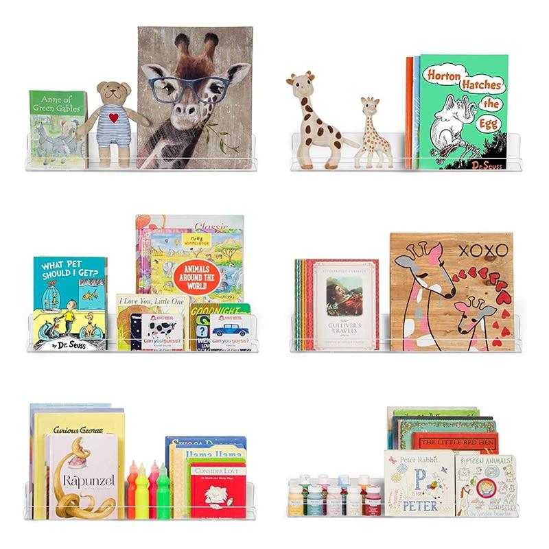 ANON الاكريليك رف جدار الاطفال رف الكتب 15 بوصة ، 3 حزمة العائمة جدار الحافة رف الكتب للأطفال ، أطفال كتاب عرض رفوف الحائط