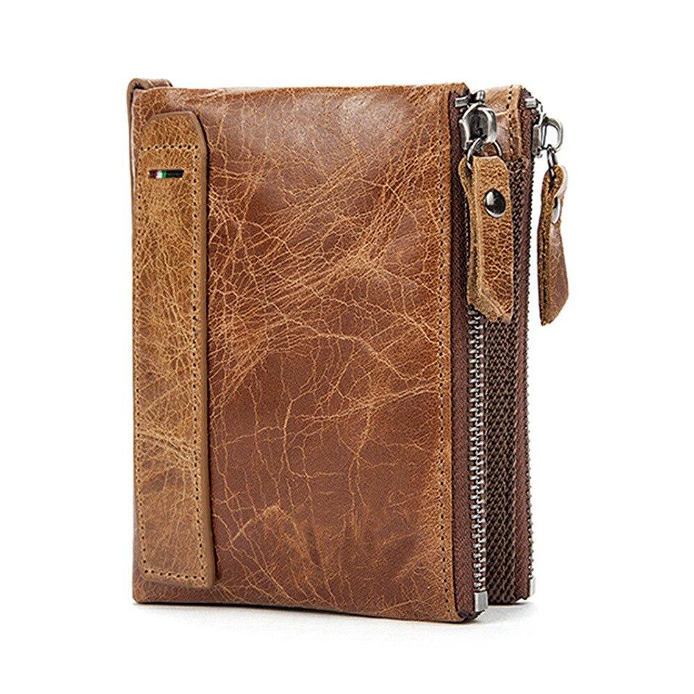 Crazy Horse en cuir véritable hommes portefeuilles court crédit porte-cartes de visite Double fermeture éclair en cuir de vachette portefeuille sac à main Carteira