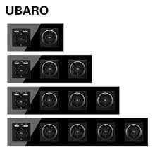 UBARO немецкая стандартная Прозрачная черная панель из закаленного стекла, настенная розетка с Usb 5 в 2100 мА, электрическая розетка, стандартная...
