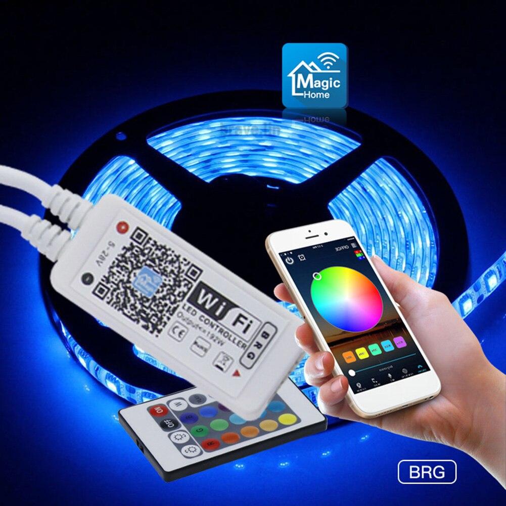 Controladores de luz WiFi RGB inteligentes controladores de WIFI para teléfono doméstico control remoto de voz Alexa de 24 botones para lámpara de tira LED