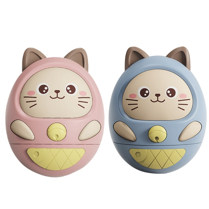 Baby Music Teether Rattle Cute Cartoon Cat Tumbler Toys Puzzle Doll Toys Newborn Gifts