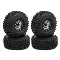 4pcs 1 9 inch beadlock wheel rims rubber tire for 110 rc rock crawler axial scx10 rr10 ax10 wraith 90048 90018 km2