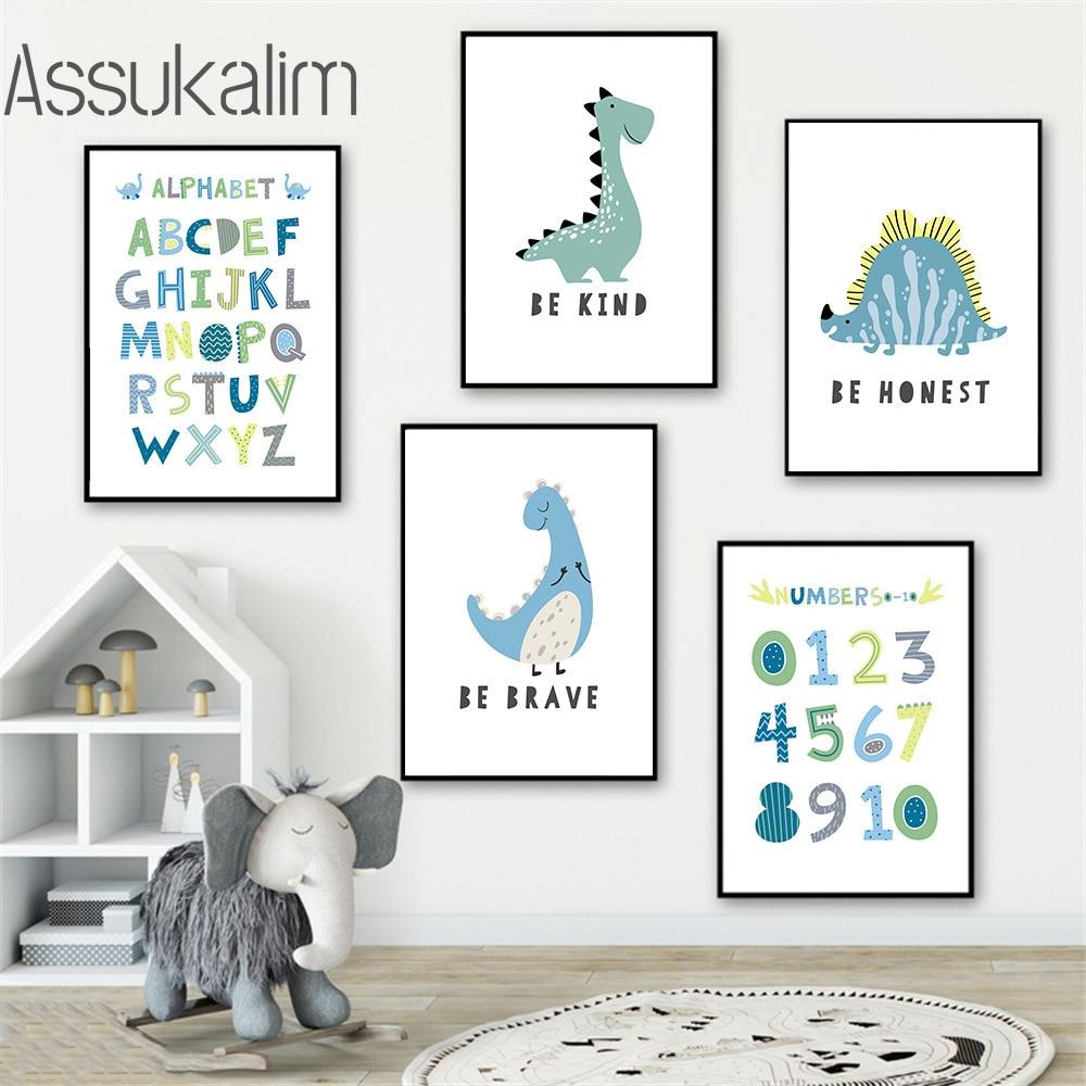 Impresión artística de dinosaurio para pared de guardería, lienzo, cartel minimalista ABC,...