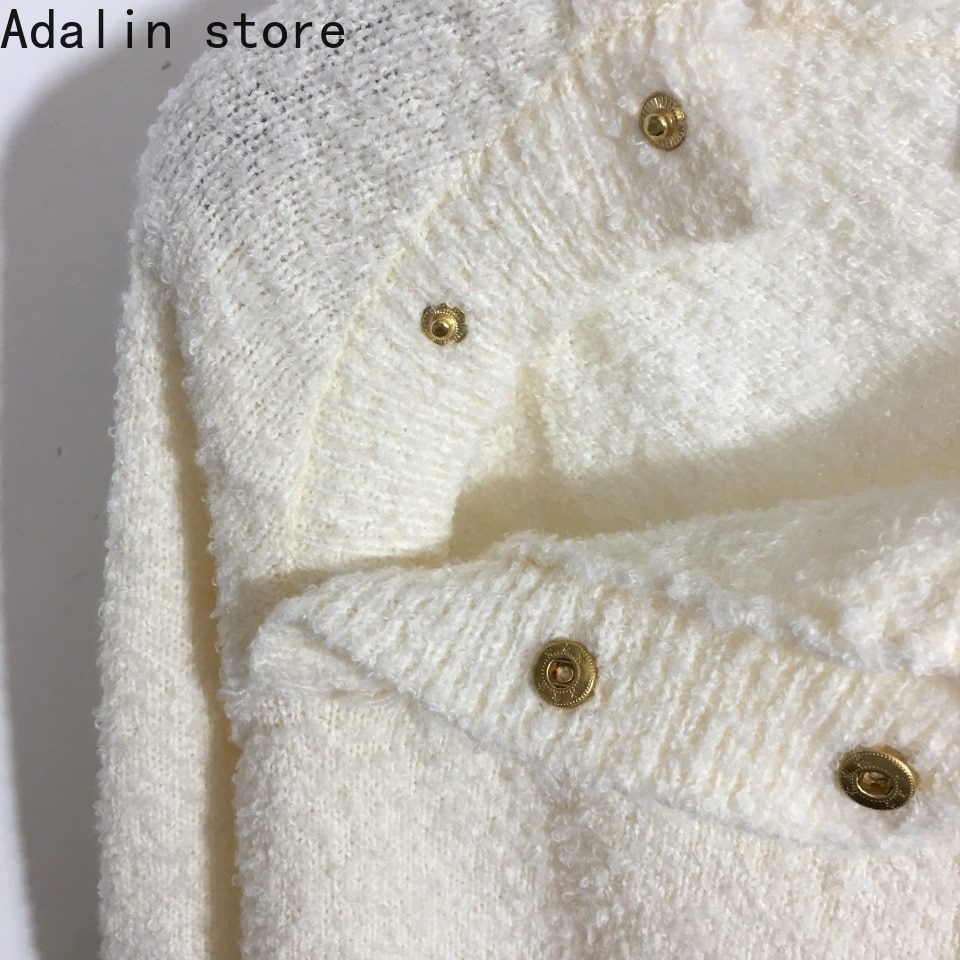 2021 high quality autumn and winter new fashion women's button crew neck long sleeve sweater wool sweater fashion sweater enlarge
