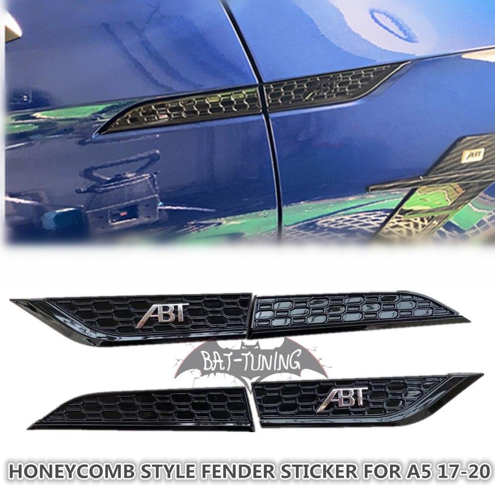 1X ABT تسجيل العسل نمط تنفيس الهواء الكسوة لأودي A5 S5 2017-2020 لامع أسود كروم ABS الجانب ملصق سيارة التصميم