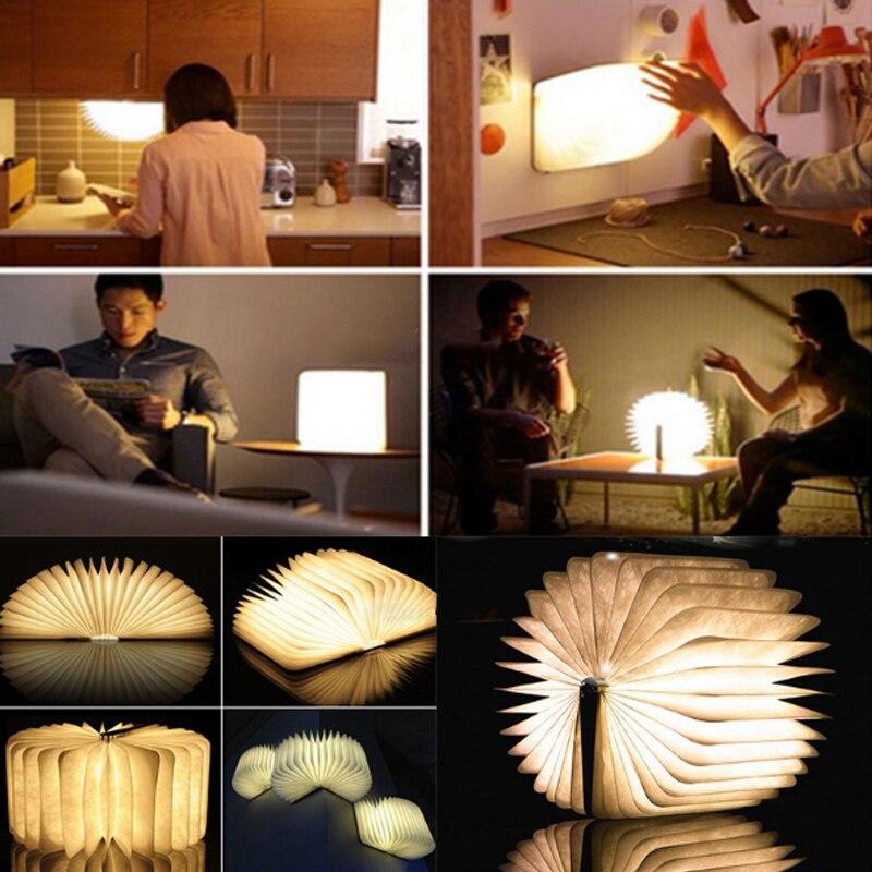 Lámpara de libro LED plegable de madera USB recargable Multi-Color_Light Decoración