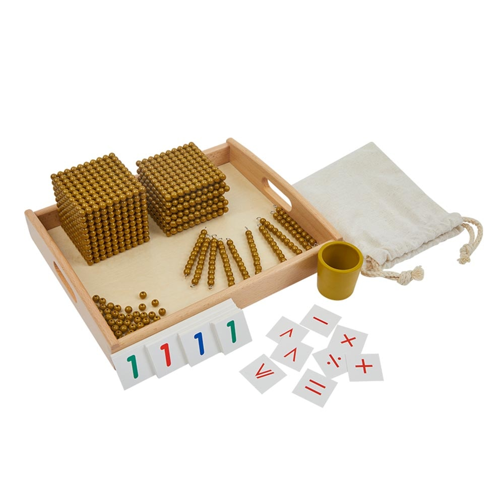 بنك مونتيسوري-مواد لؤلؤة ذهبية ، نظام عشري ، أدوات تعليمية للرياضيات ، مواد ما قبل المدرسة ، ألعاب تعليمية للأطفال