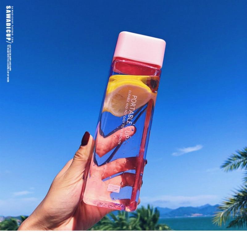 500ML Bonito Nova Praça Chá de Leite bebida de Frutas Xícara de Água para Garrafas De Água com Corda Transparente Esporte estilo Coreano resistente ao calor