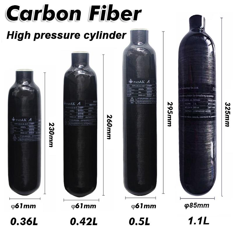 New Carbon Fiber PCP Tank 300bar 4500PSI M18*P1.5 for Respirator Diving Equipment Fire Fighting Paintball Mini Scuba Air Rifle