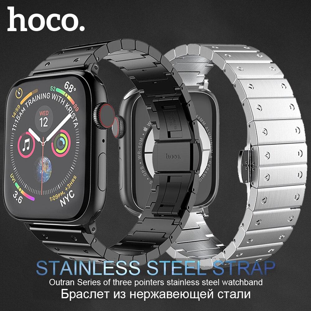 HOCO marque Bracelet en acier inoxydable pour Apple Watch série 5 4 3 2 1 Bracelet en métal papillon boucle Bracelet pour iWatch 42mm 44mm