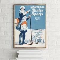 vintage 1924 montreal winter sports poster limited edition retro travel art print
