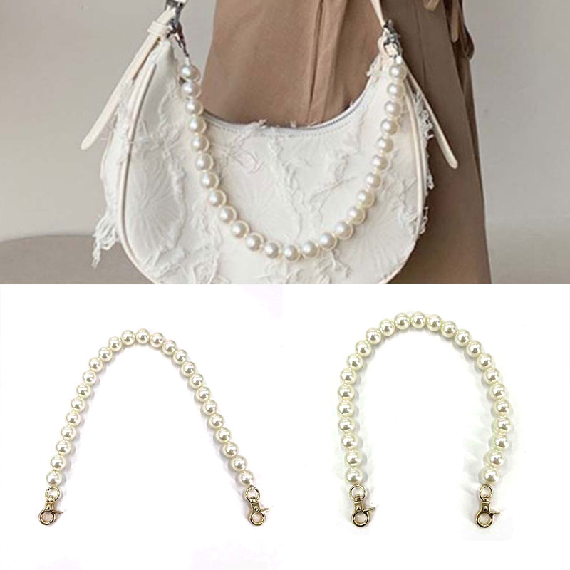 Faux Pearl Bag Strap Beaded Design Bag Handle Women Handbag Handles Replacement Handbags Strap Accessories Exquisite Stylish faux pearl espadrille flatform sliders