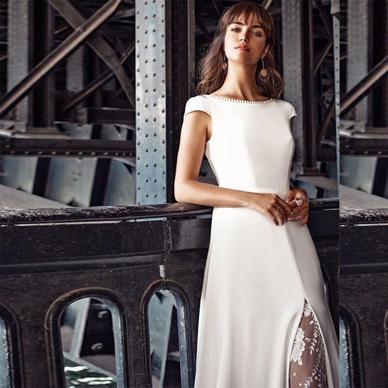 Get MoonlightShadow Luxury Wedding Dresses A-Line O-Neck Short Sleeves Satin Furcal Appliques Bridal Gowns Vestido De Casamento