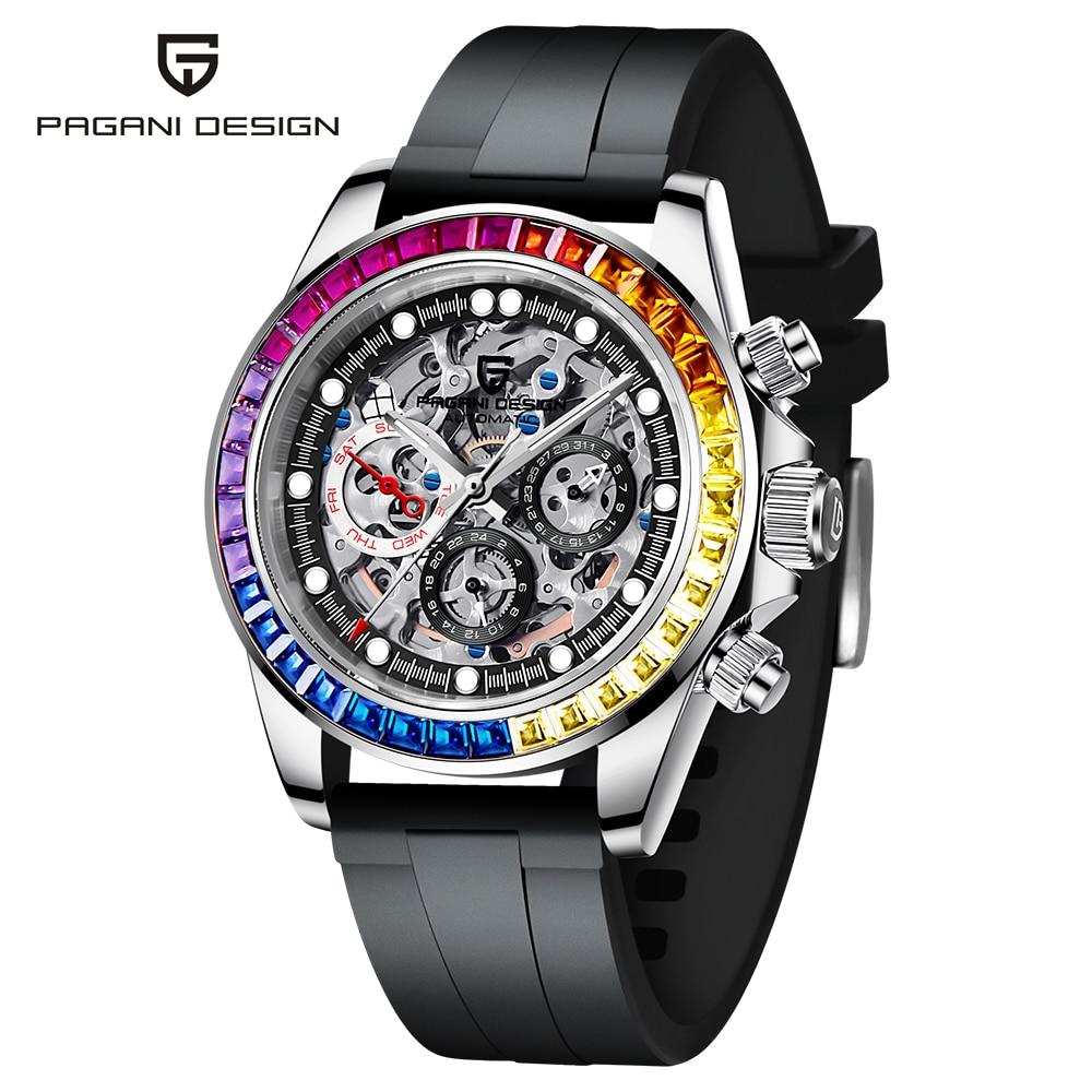 PAGANI تصميم الهيكل العظمي ساعة أوتوماتيكية للرجال ساعات الفولاذ المقاوم للصدأ مقاوم للماء موضة الأعمال الرياضة ساعة اليد الميكانيكية