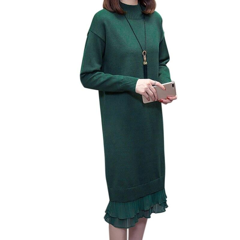 Suéter negro acogedor vestido de mujer de Color sólido O cuello de encaje de retazos delgado de punto Vestido de manga larga de longitud media vestidos casuales caliente