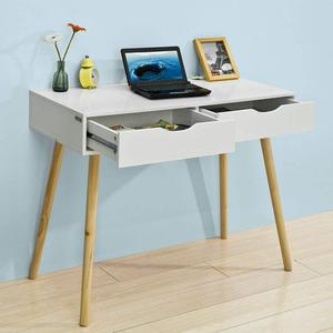 1PC 90X45X77CM White Simple Desk  Multifunction Home Office Make-up Universal And Practical Wooden Legs With Two Drawers HWC
