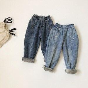 2019 Korean  winter new children plus velvet padded cotton denim pants  treasures wild radish pants