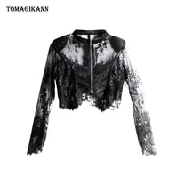 black lace sheer coats for women punk sexy transparent stand collar zipper short jacket 2021 summer thin female fashion clothes