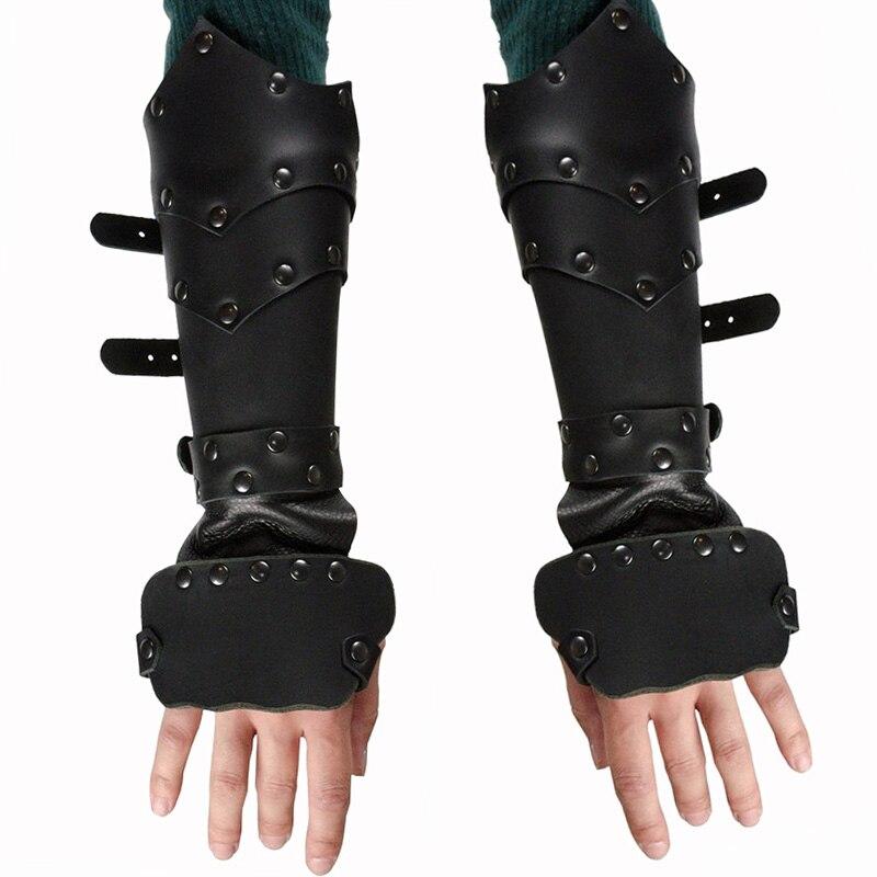 Renacimiento Medieval cuero gótico guante brazo brazalete Correa remache Ranger Archer Larp Cosplay Vambrace para hombres y mujeres