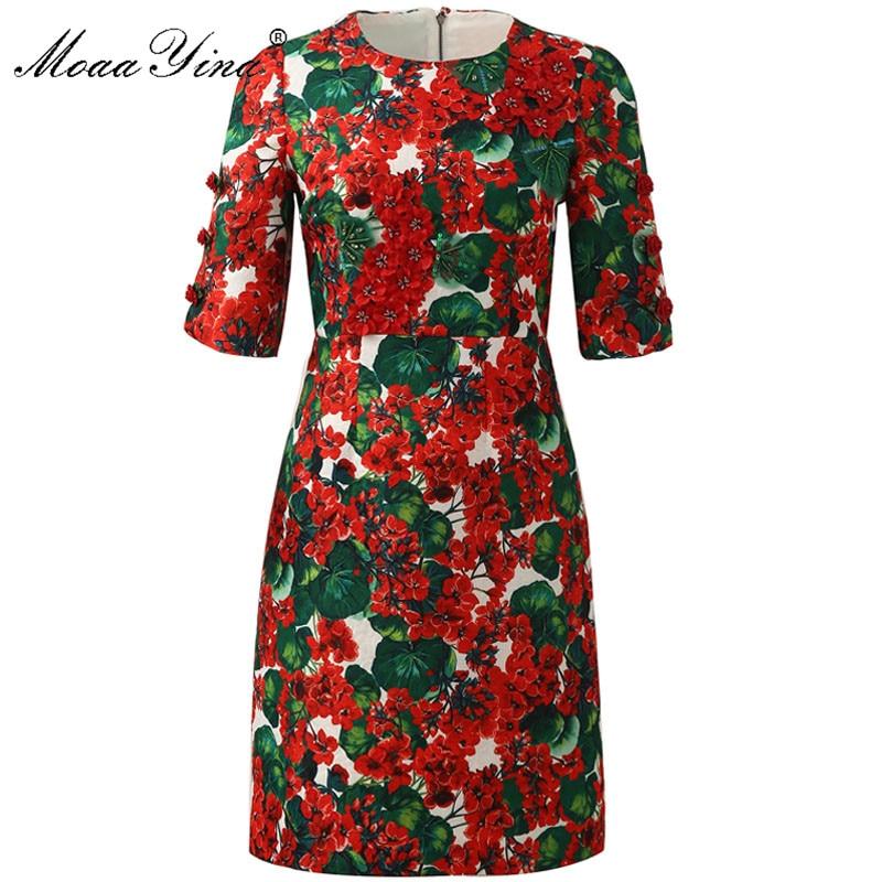 MoaaYina moda diseñador vestido de pasarela verano mujeres media manga apliques Floral-Estampado vestidos delgados