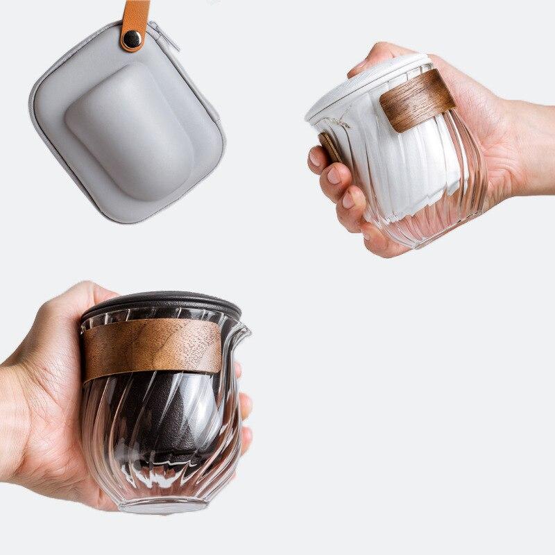 Bule de Cerâmica com um Pote Três Copos Tanque Armazenamento Gaiwan Chá Conjuntos Viagem Portátil Conjunto Drinkware um