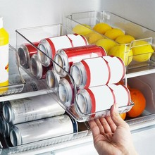 Contenedores organizadores para refrigerador, dispensador de latas de Soda, soporte transparente para nevera, congelador, cocina, contenedor de almacenamiento