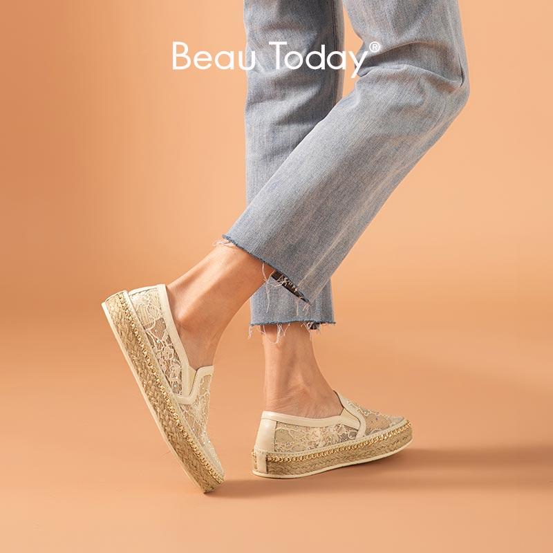 BeauToday حذاء كاجوال نساء جلد البقر الدانتيل شبكة زخرفة المعادن الخرز المنسوجة القش الصيف الإناث قماشية اليدوية 23427