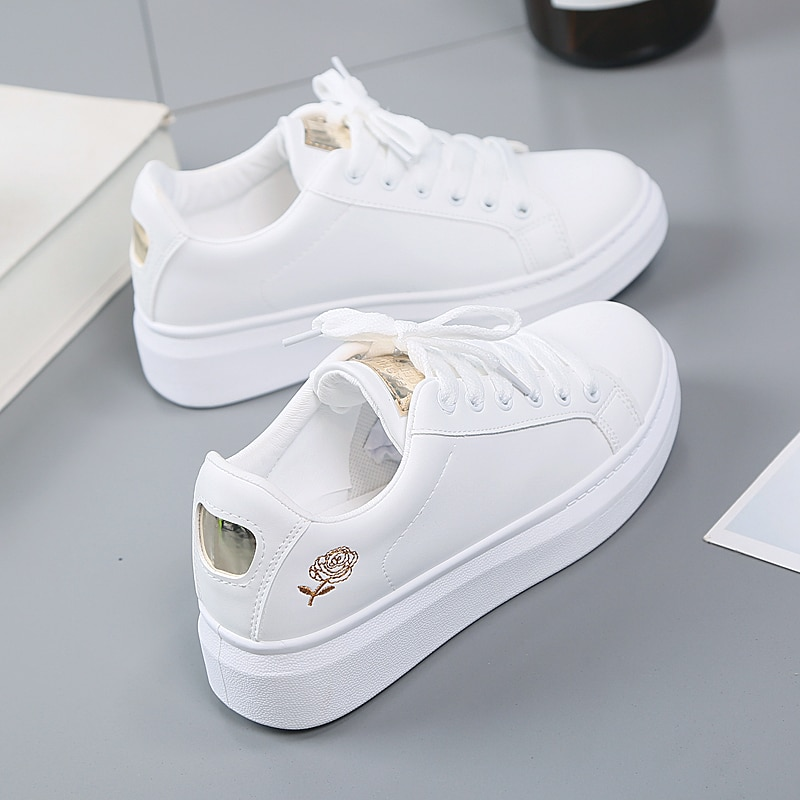 2020 Women Casual Shoes New Spring Women Shoes Fashion Embroidered White Sneakers Breathable Flower