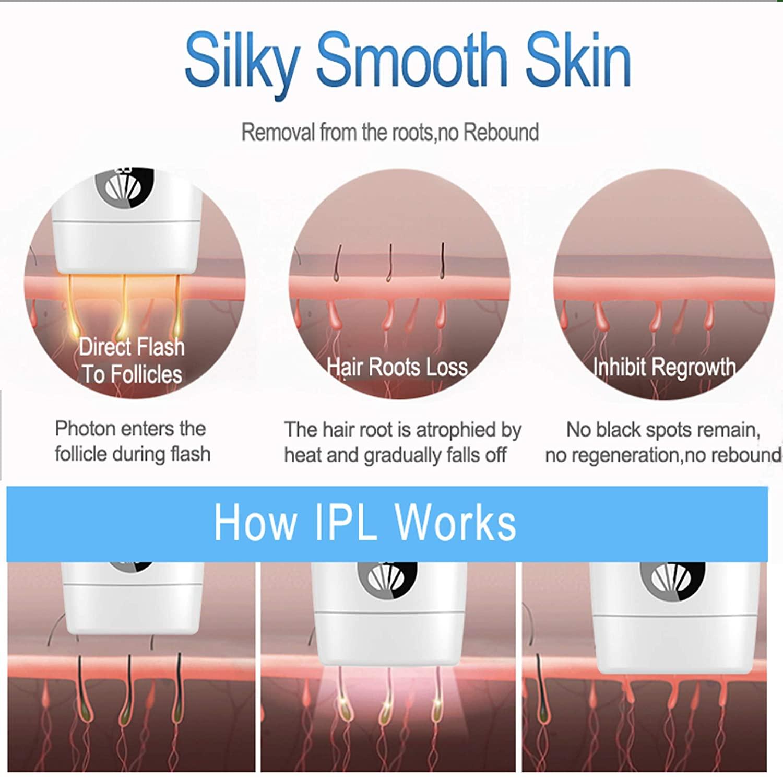 IPL Laser Hair Removal Device Permanent Facial Body Hair Trimmer Epilator For Women Laser Epilator Upgrade to 500,000 flashes enlarge
