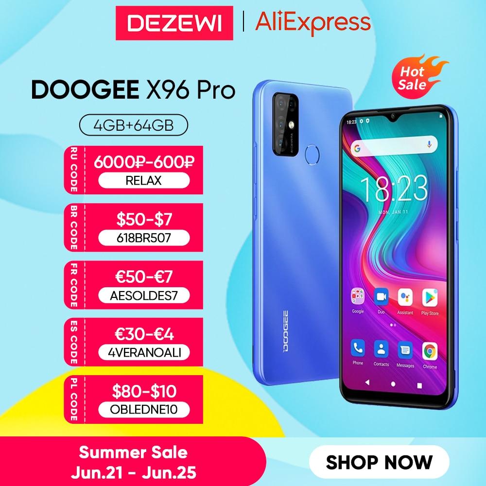 DOOGEE X96 Pro 5400mAh большой Батарея мобильных телефонов 4 Гб Оперативная память 64 Гб Встроенная память Octa Core 13MP Quad Камера смартфонов мобильный теле...
