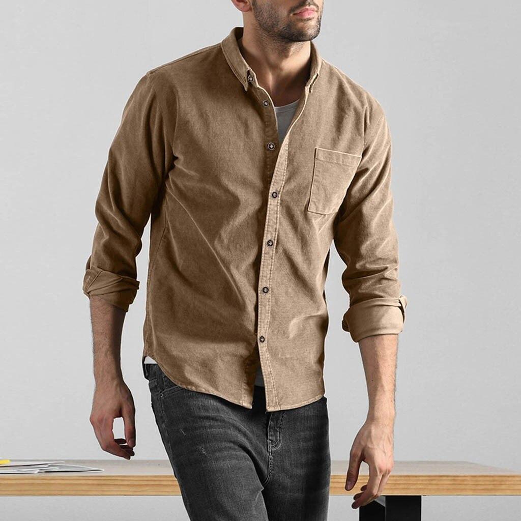Homens outono casual sólido veludo bolso manga comprida camisa blusa blusa social masculina plus size havaiano camisas vestido