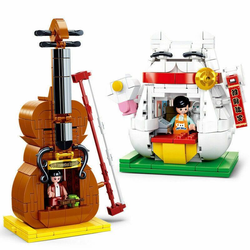 Sluban Blocks Kids Building Toys Boys Puzzle Violin Cat Shop Girls Gift 0817 0818 no original box