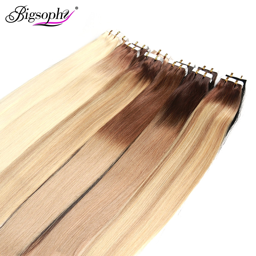 alishow tape in remy human hair extensions double drawn hair straight invisible skin weft pu tape on hair extensions Bigsophy Straight Tape In Human Hair Extensions Human Hair Skin Weft Human Remy Hair PU Tape On Hair Extensions 14-26 inch