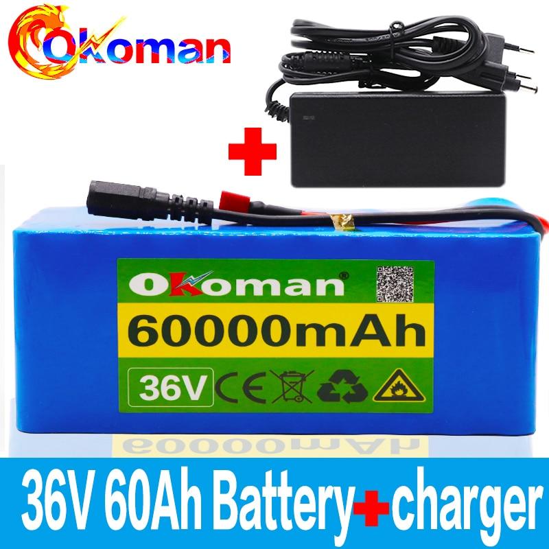 36V סוללה 10S4P 60Ah סוללות 500W גבוהה כוח סוללה 42V 60000mAh Ebike אופניים BMS + 42v מטען