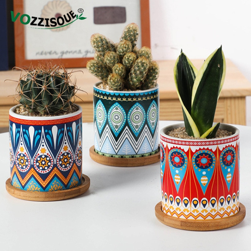 Quente nordic bonsai pote de cerâmica suculenta plantador flor de madeira stands casa decoração interior planta pote decoração pequena planta vasos