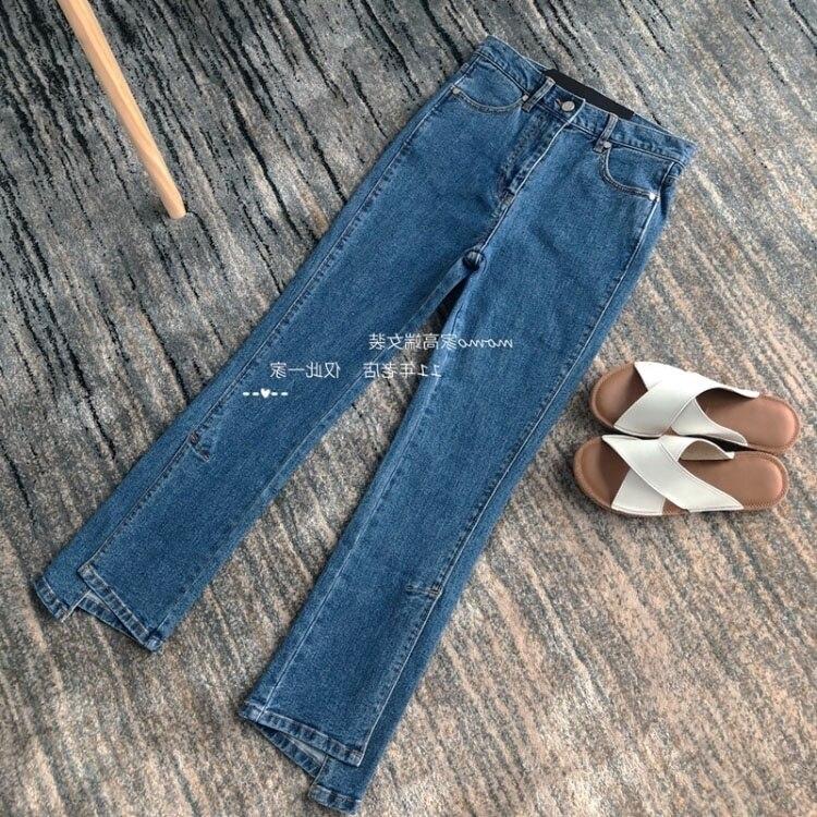الدنيم السراويل الملابس النسائية في الخريف رقيقة مايكرو لا غير النظامية انقسام الجينز