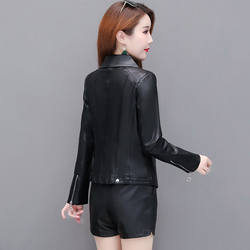 2020 Autumn New Leather Jacket Women Short Pu Leather Small Jacket Spring And Autumn Motorcycle Version Slim Fashion Trend enlarge