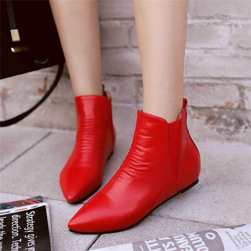 2020 botines de mujer Botines de tacón plano negro clásico para mujer primavera moda Otoño damas botas negras bota corta informal