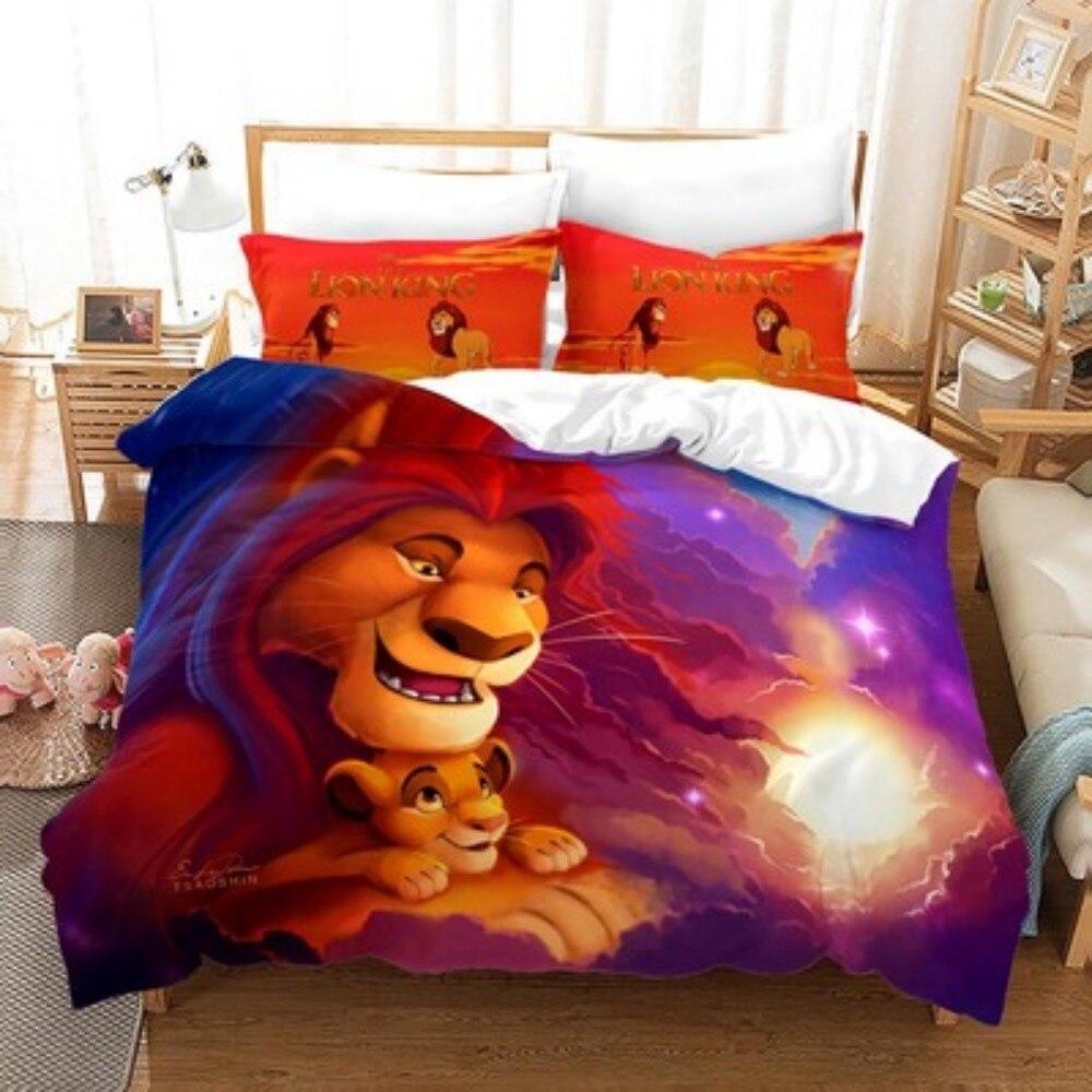 الكرتون الأسد الملك سيمبا طقم سرير أغطية لحاف سادات السرير المعزي غطاء طفل الأطفال الكبار الفتيان هدية المفارش