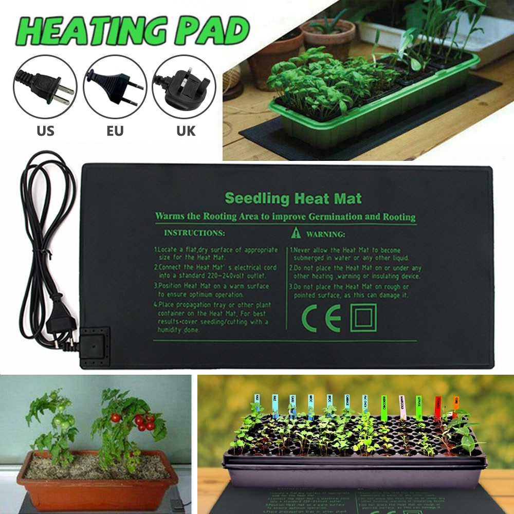 EU Plug Waterproof Seedling Heating Mat 24x52CM Plant Seed Germination Propagation Clone Starter Pad Garden Supplies