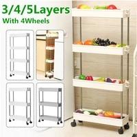 Etagere de rangement de cuisine a 2 3 4 niveaux  tour coulissante mince  mobile  assemblage en plastique  roues detagere de salle de bain  organisateur peu encombrant