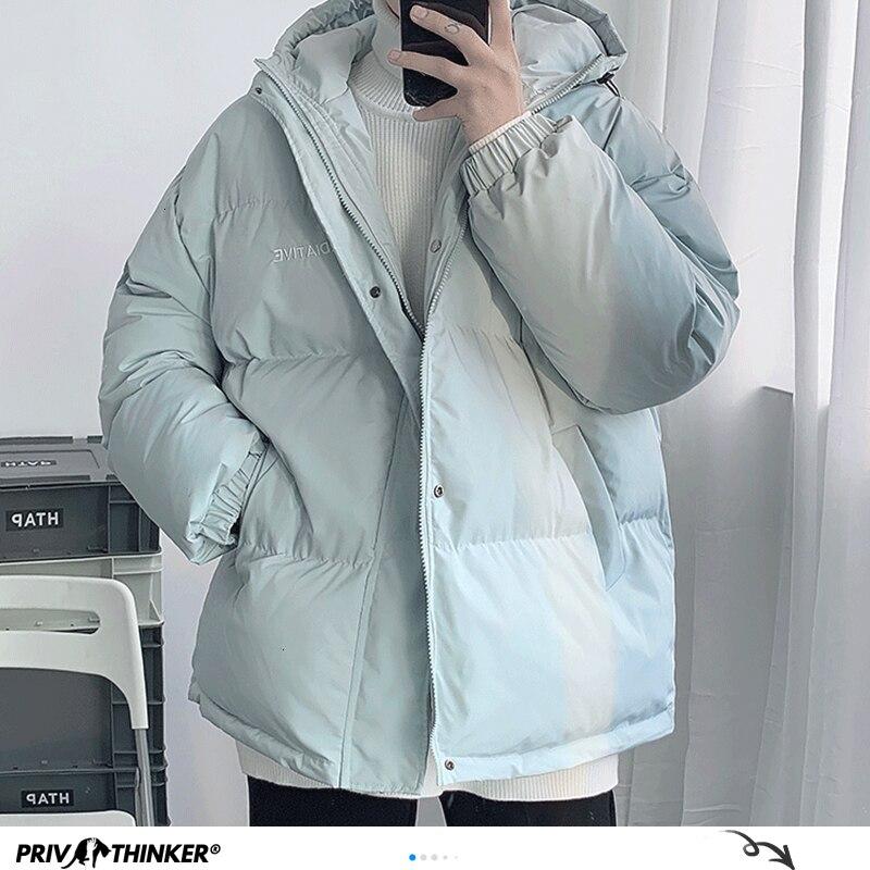 Privathinker Korean 2020 Winter Warm Jackets Men Parkas Women Oversized Outwear Solid Color Hooded Thicken Coats Parka