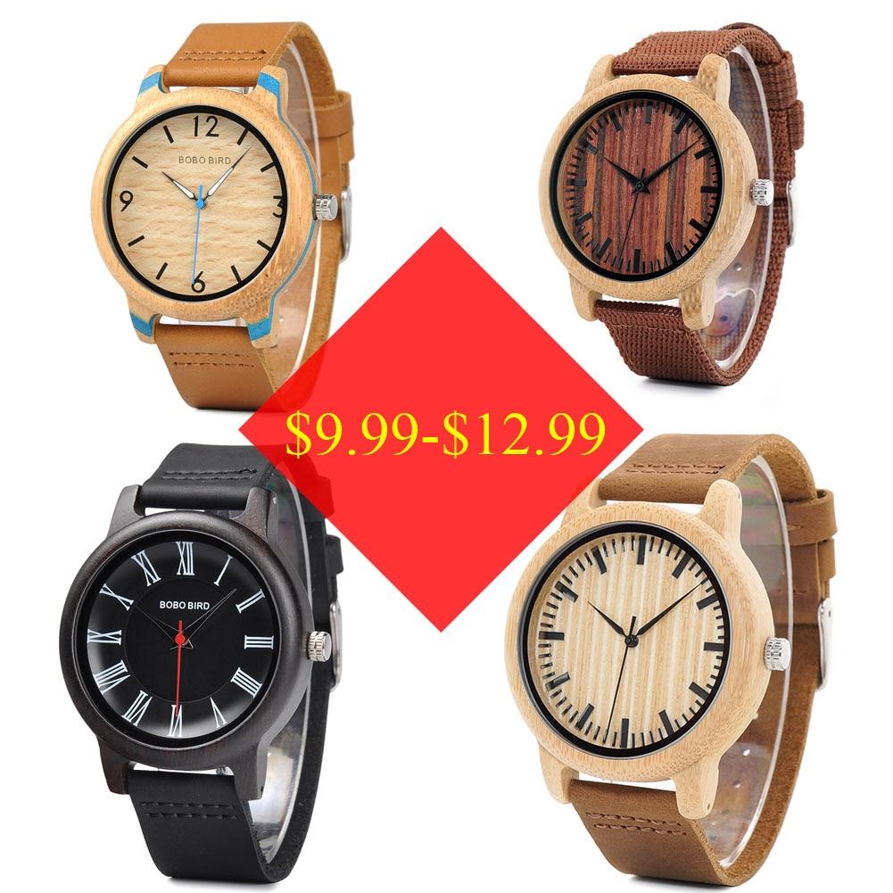 BOBO BIRD Wood Watch Men Ladies Clearance Sale price Promotion Quartz Wristwatches Male Women Leather Strap relogio masculino
